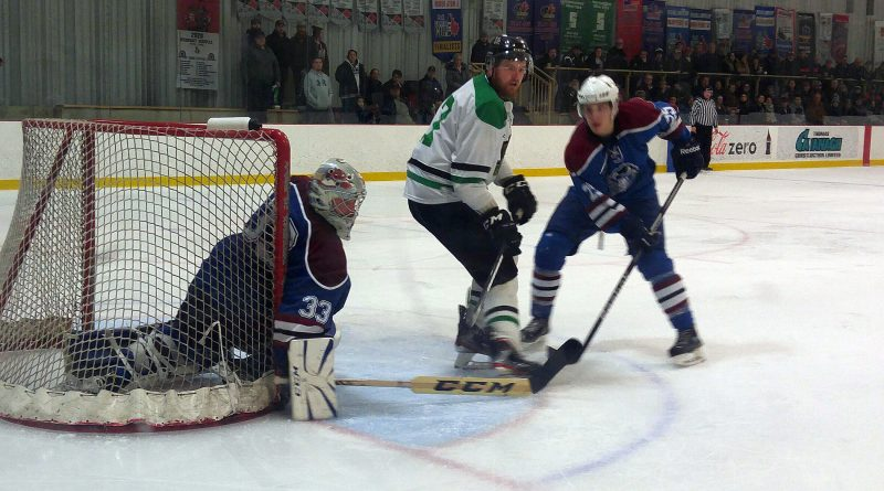 West Carleton Rivermen owner/player Adrian Moyes in front of the net in last year's league championship.