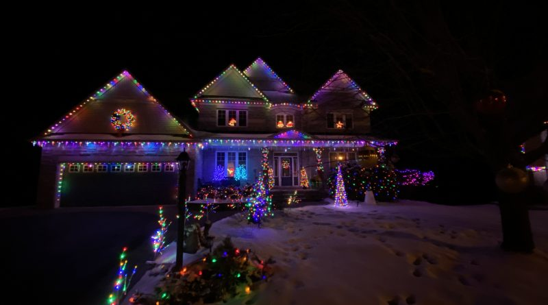 The Genova family home decorated for Christmas.