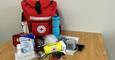 A Red Cross emergency kit..