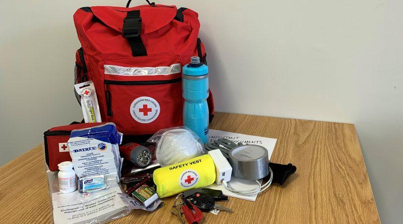 A Red Cross emergency kit..