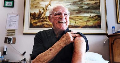 Arnold Roberts shortly after receiving the COVID-19 vaccine.