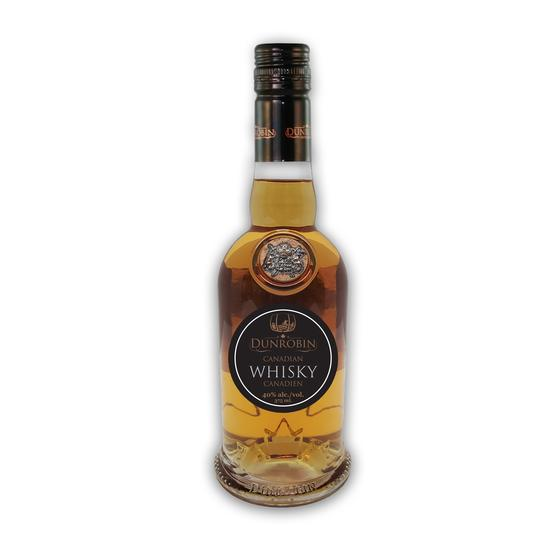 A photo of a bottle of Dunrobin Distilleries' Canadian whisky.