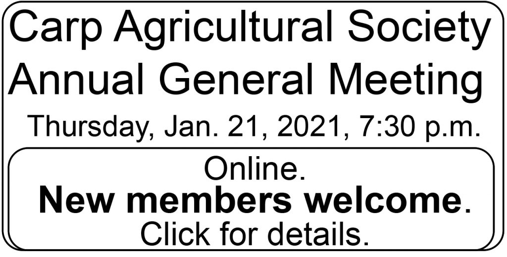 Ad for Jan. 21, 2021 Carp Fair Annual General Meeting.