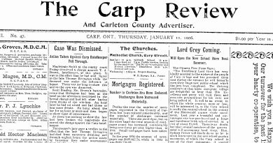 The front page of The Carp Review, Jan. 11, 1906.