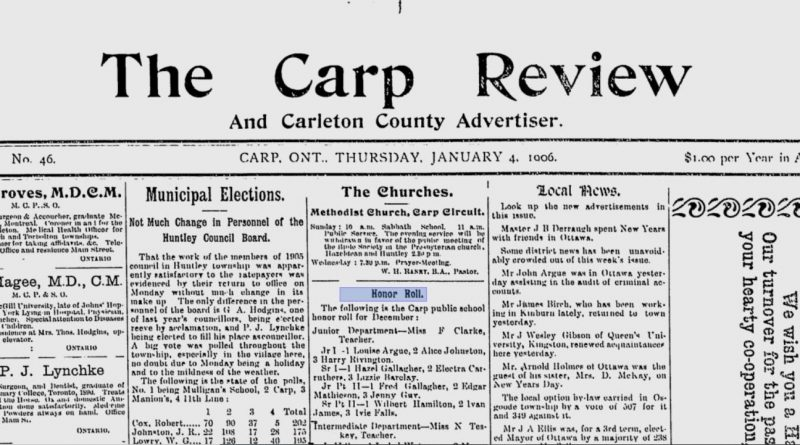 The banner of the Jan. 4, 1906 Carp Review.