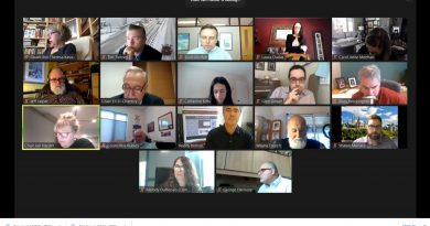 A photo of a Zoom meeting in progress,