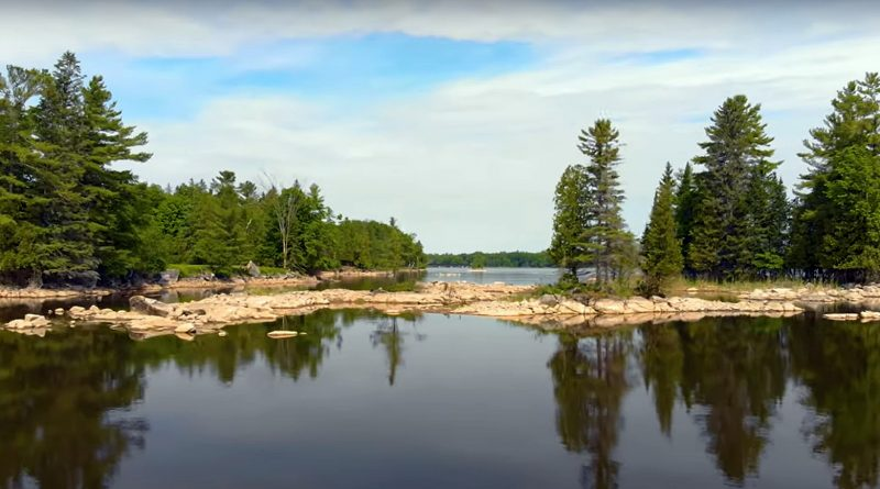 A photo of the Ottawa River through Morris Island.