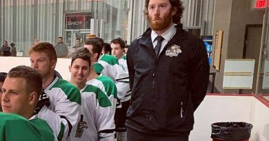 A photo of the West Carleton Rivermen's bench.