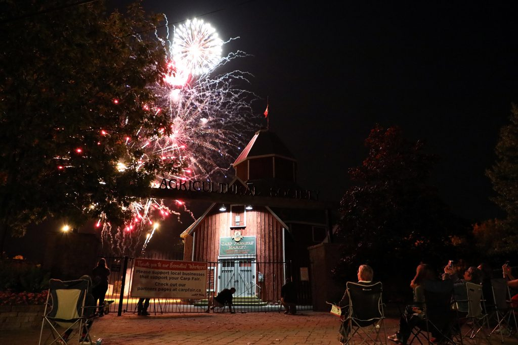 A photo of the fireworks show the Carp Argricultural Society held on Carp Fair weekend.