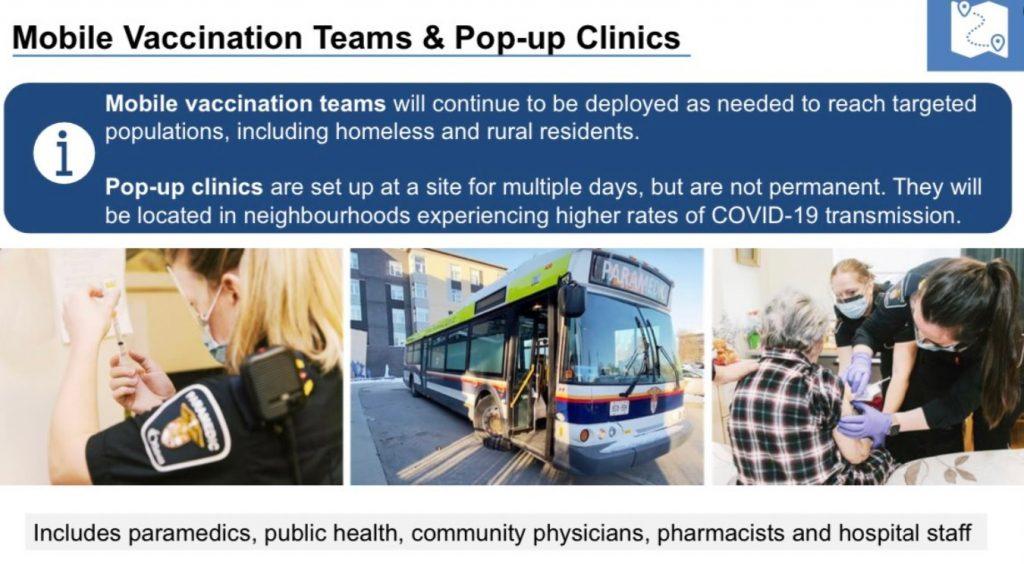 An info panel on mobile clinics