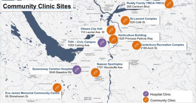 A map of COVID-19 vaccination clinics.