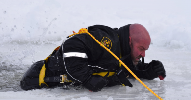 OPP Const. Sean McCaffrey shows how to escape falling through the ice during a demonstration on Feb. 17. Courtesy the OPP