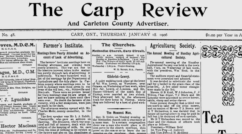 The front page of the Jan. 18, 1906 Carp Review.
