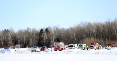 A photo of emergency vehicles attending the scene of a plane crash at the Carp Airport.