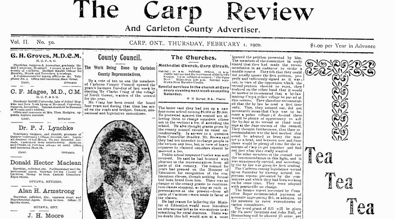 The front page of the Feb. 1, 1906 Carp Review.