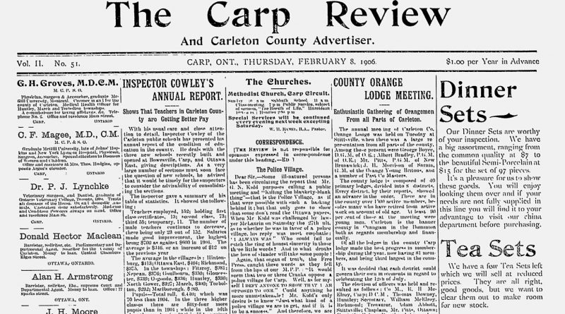The front page of The Carp Review, Feb. 8, 1906