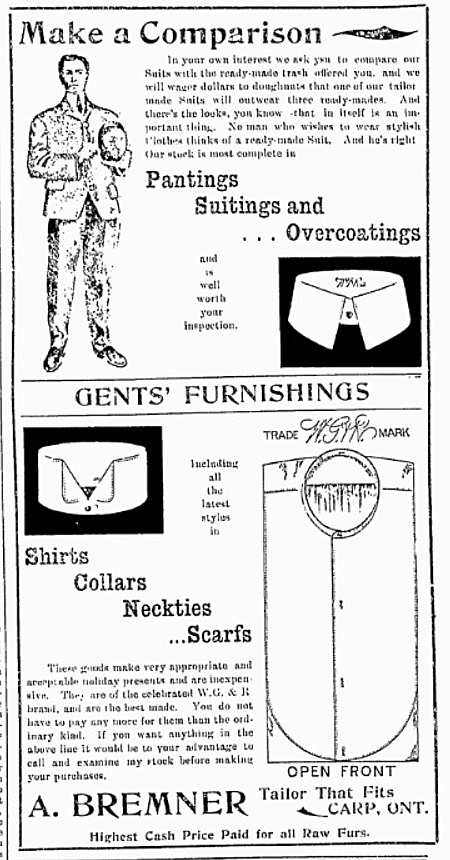 An ad for a Carp tailor from the Feb. 8, 1906 Carp Review.