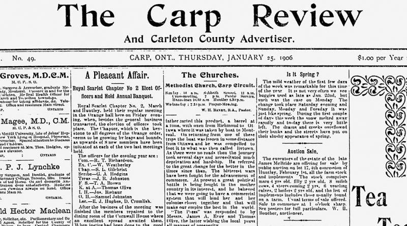 The front page of the Jan. 25, 1906 Carp Review.