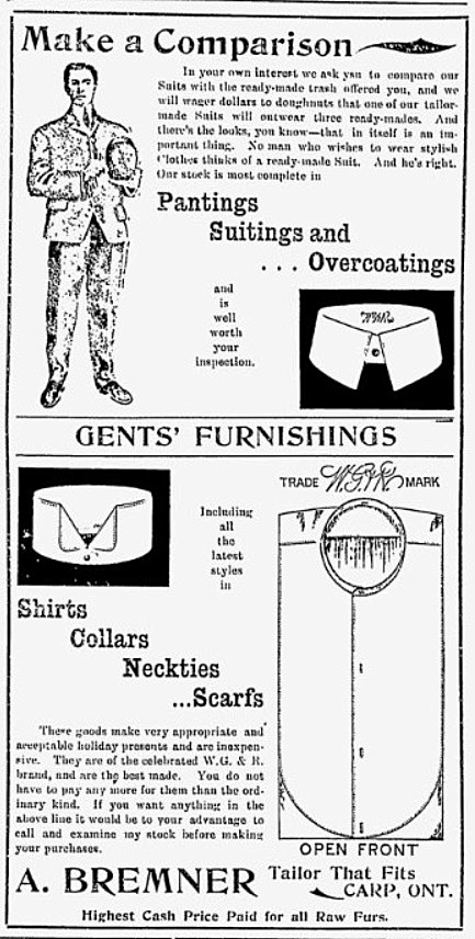An ad for a clothing store in Carp from the Jan. 25, 1906 Carp Review.
