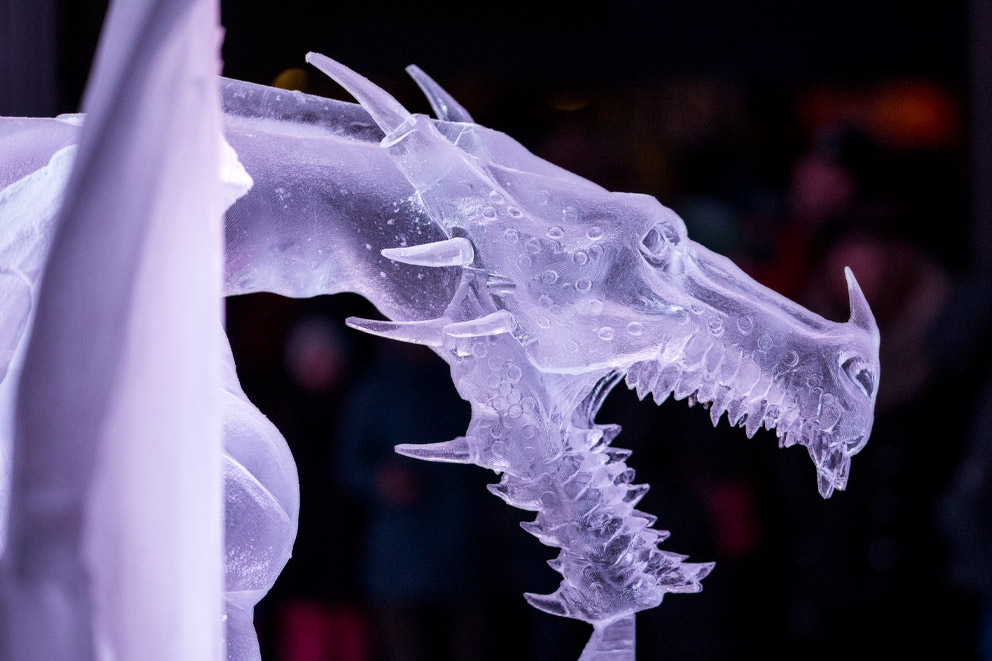 An ice sculpture of a dragon.