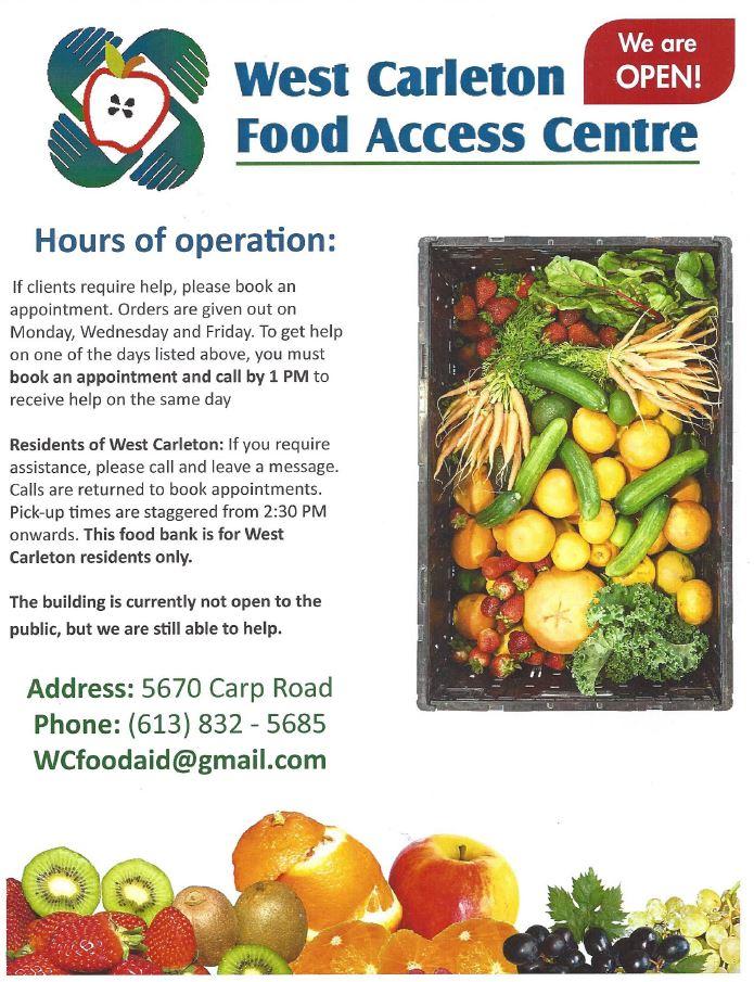 A West Carleton Food Access Centre flyer.