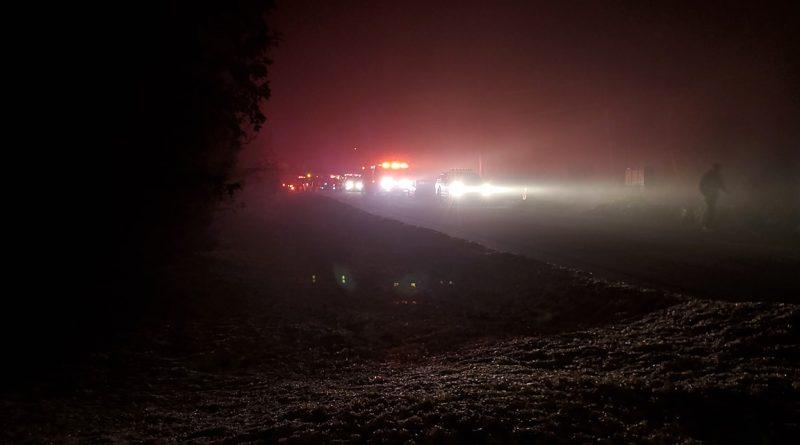 Firefighters attend a Deerwood Estates fire last night.