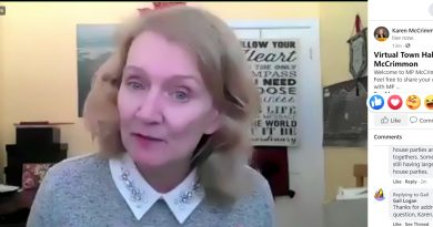 MP Karen McCrimmon on video during her Facebook Live event yesterday.