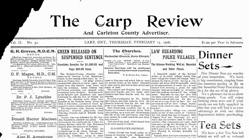 The front page of the Feb. 15, 1906 Carp Review.
