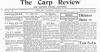 The front page of the March 1, 1906 Carp Review.