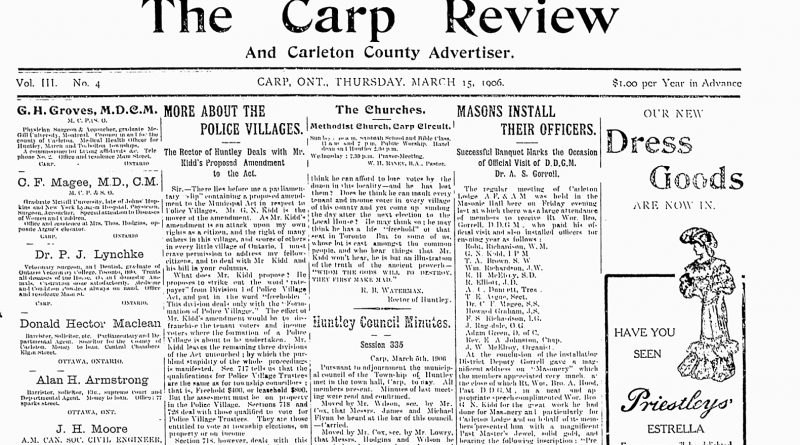 The front page of the March 15, 1906 edition of The Carp Review.