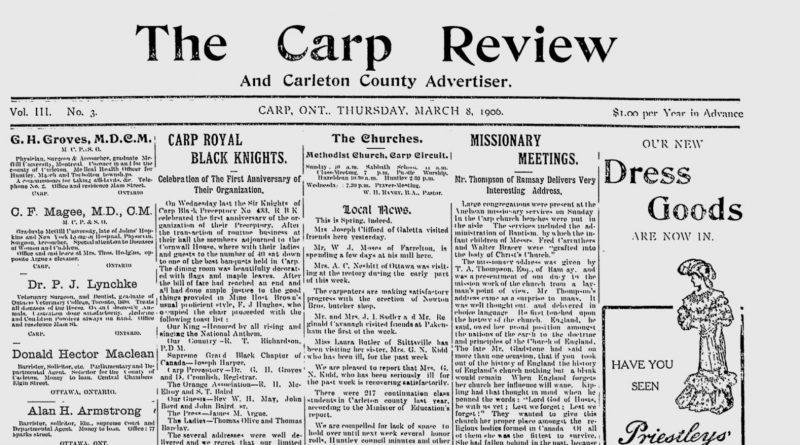 The front page of the March 8, 1906 Carp Review.