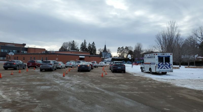 A photo of Arnprior's drive thru vaccination clinic.
