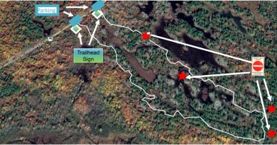 A map of the Carp Barrens trails.