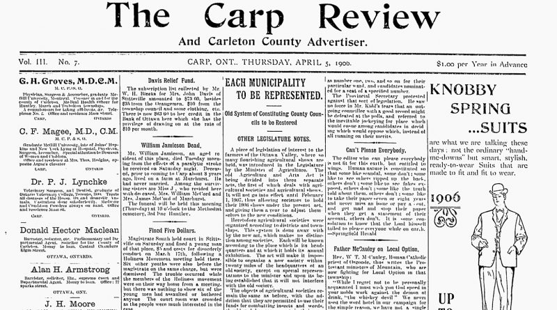 The front page of the April 5, 1906 Carp Review.