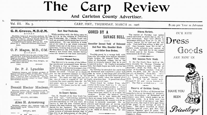 The front page of the March 22, 1906 Carp Review.