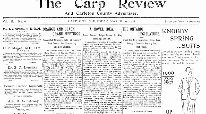 The front page of the March 29, 1906 Carp Review.