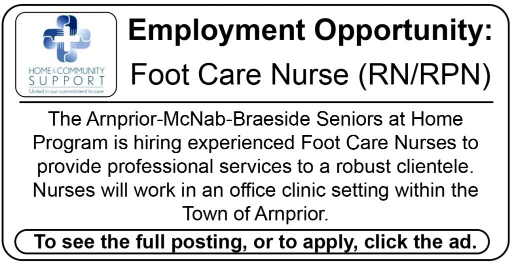 An ad seeking a foot care nurse for the Arnprior-McNab-Braeside Seniors at Home program.