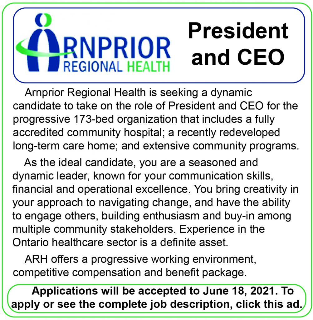 An ad for the Arnprior Regional Health president and CEO position.