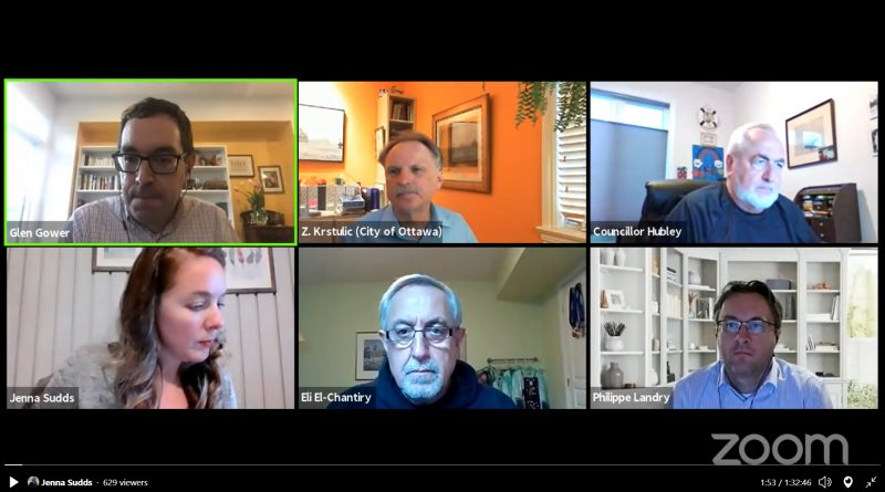 The four west-Ottawa councillors Eli El-Chantiry, Jenna Sudds, Glen Gower and Allan Hubley were joined by city staff Zlatko Krstulic (centre top) and Phillippe Landry (bottom right) for an Active Transportation meeting Tuesday, May 11. Screengrab
