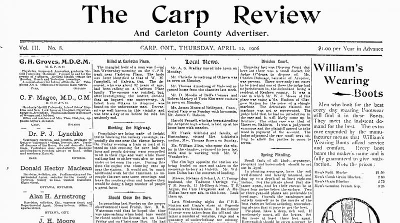 The front page of the April 12, 1906 edition of The Carp Review