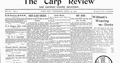 The front page of the April 19, 1906, Carp Review.