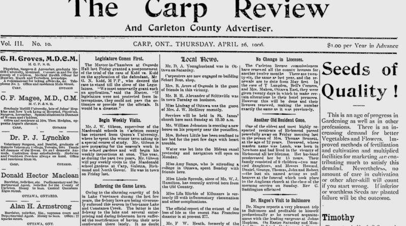 The front page of the April 26, 1906 Carp Review.