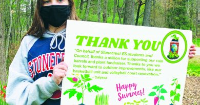 A photo of a Stonecrest student holding a thank you sign.