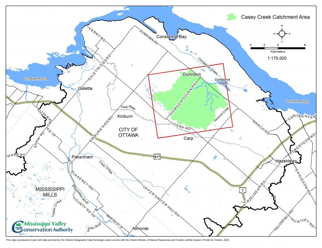 A map of the location of Casey Creek.