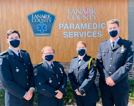 From left are Lanark County paramedics Thomas Quilliam, Bryan Pollock, Janice Steele (superintendent), and Gord Cobus.