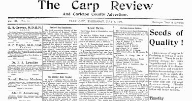 The front page of the May 3, 1906 The Carp Review.