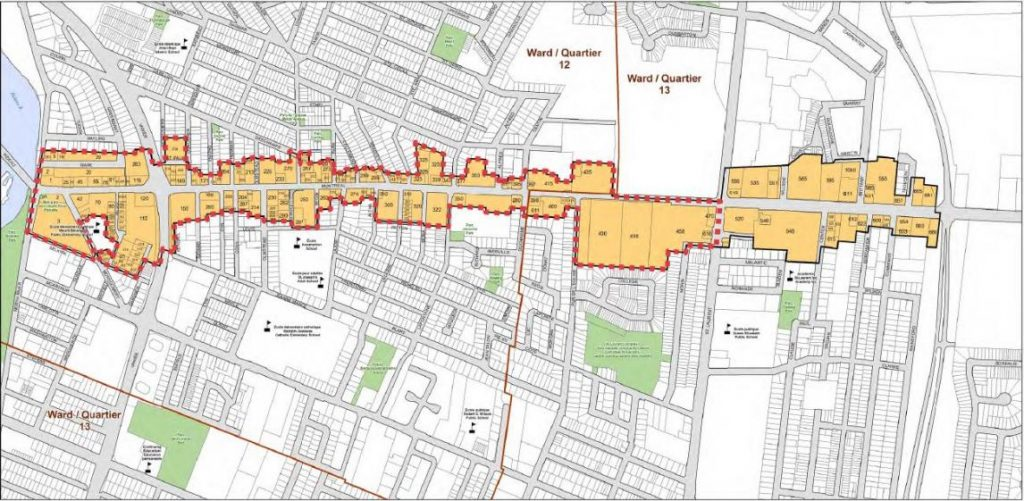 A map of the CIP area along Montreal Road.