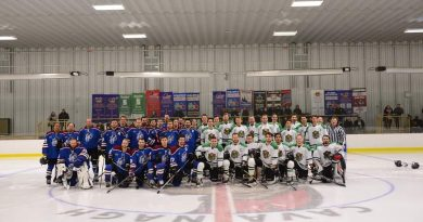 A photo of the Prowlers and Rivermen on the ice.