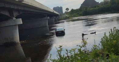 A photo of the car in the river.