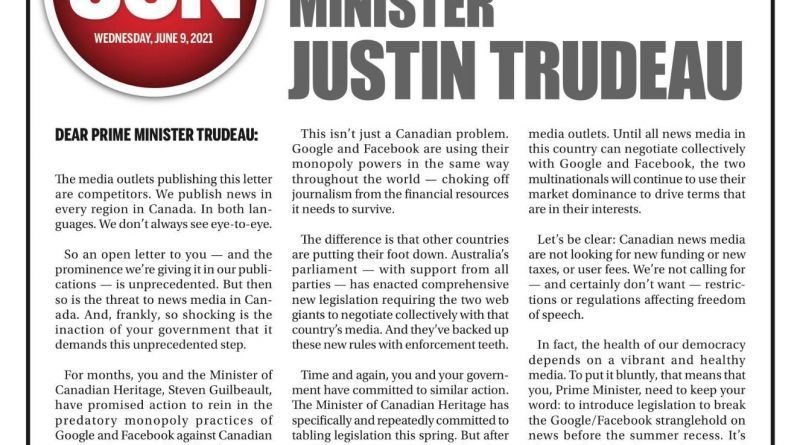 The front page of the June 9 Ottawa Sun.